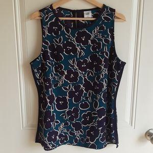 Cabi Teal Navy Floral Warhol Top Shirt Size Medium
